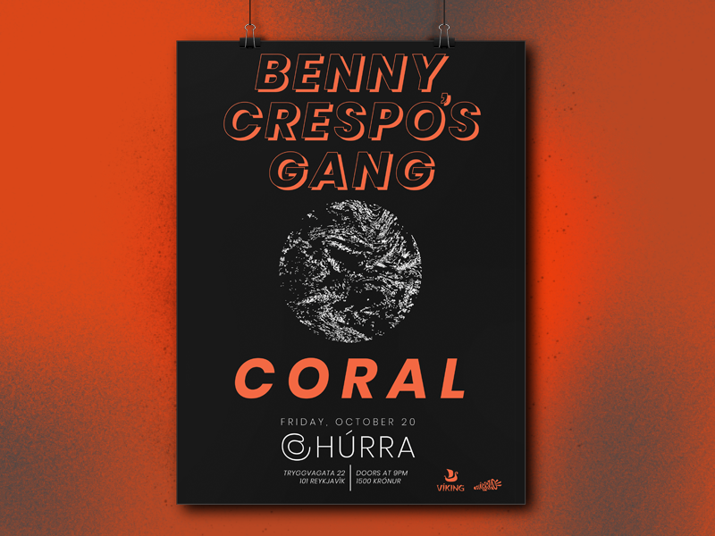 Benny Crespo's Gang + Coral @ Húrra black and red poster design gig poster poster band music iceland húrra