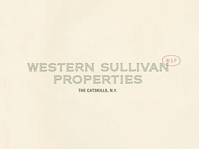 Western Sullivan Properties outlined type catskills logodesign logo branding graphic design