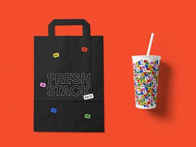 Fresh Stack Packaging packaging design bag design to-go bag pop soda cup burgers restaurant branding package design packaging design branding graphic design sticker