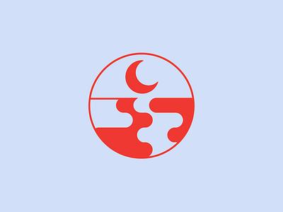 DeLune Icon waves moon vector illustration logo design logo design branding graphic design