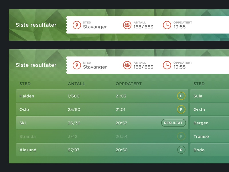 Latest results web ui application gui ux green admin tv icon