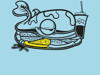 whale snack minimal flat vector design illustration
