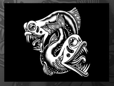 Grim Team illustration label lukeb brewery beerlabel beer markers drawing blackandwhite deep sea fish alebrowar