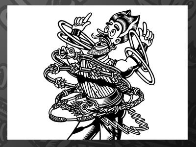 Hula Hop alebrowar hoop dragon blackandwhite drawing markers beer beerlabel brewery lukeb label illustration