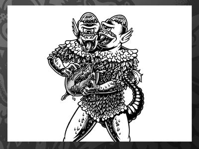 Freak Out markers lukeb label illustration drawing monster chop brewery blackandwhite beerlabel beer cumformers