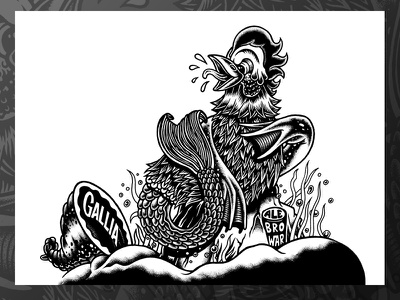 Hazy Rooster cumformers beer beerlabel blackandwhite brewery chop rooster drawing illustration label lukeb markers
