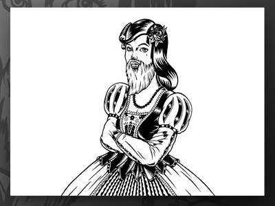 Lady Blanche cumformers beer beerlabel blackandwhite brewery chop lady drawing illustration label lukeb markers