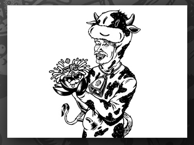 Sweet Cow markers lukeb label illustration drawing character chop brewery blackandwhite beerlabel beer cumformers