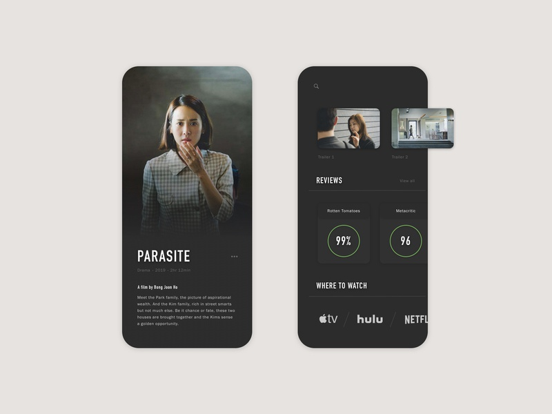 UI—01 clean sketch movies parasite app web concept brand ux ui modern minimal design