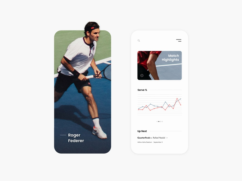 UI—02 federer tennis player tennis sports concept clean app website ux modern web ui minimal design