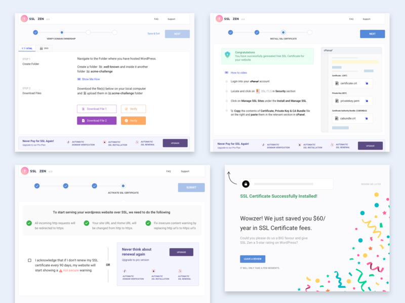 2.0 - SSL Certificate Setup Process ssl security website certificate ui ux user interface design clean minimal layout user experience design icon process steps interaction design
