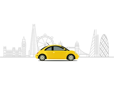 London Cityscape and VW Beetle Artwork