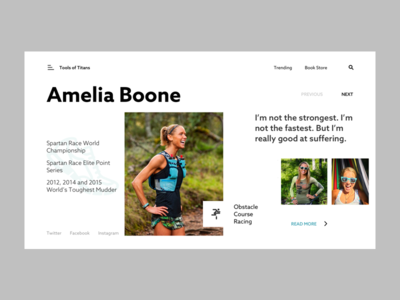 Amelia Boone run obstacle course racing ui ux website interaction visual design icon animation
