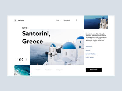 ieExplore - Santorini island country clean ui website layout minimal exploration interaction animation ux city