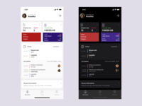 Management App for Flatmates flatmates roommate chat money expese to-do calendar flat design card ui icons components light theme dark theme mokcups user experience design clean minimal user interface design ux ui