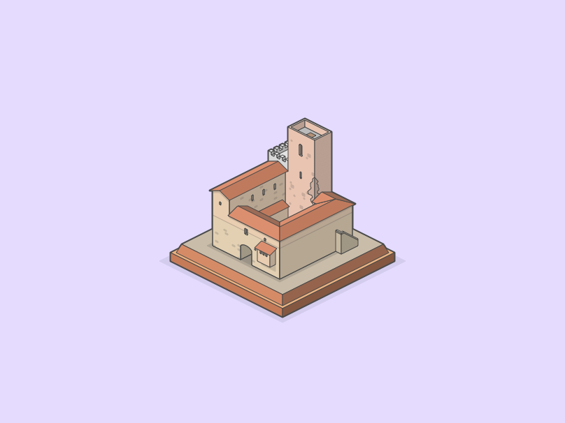 Italian house minecraft isometric illustration graphic design