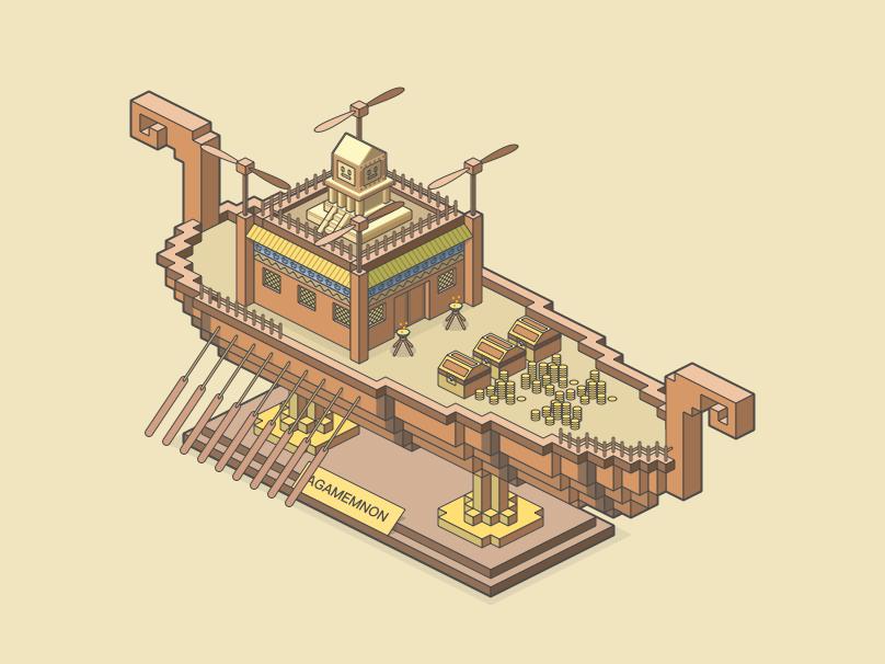 Agamemnon minecraft isometric illustration graphic design