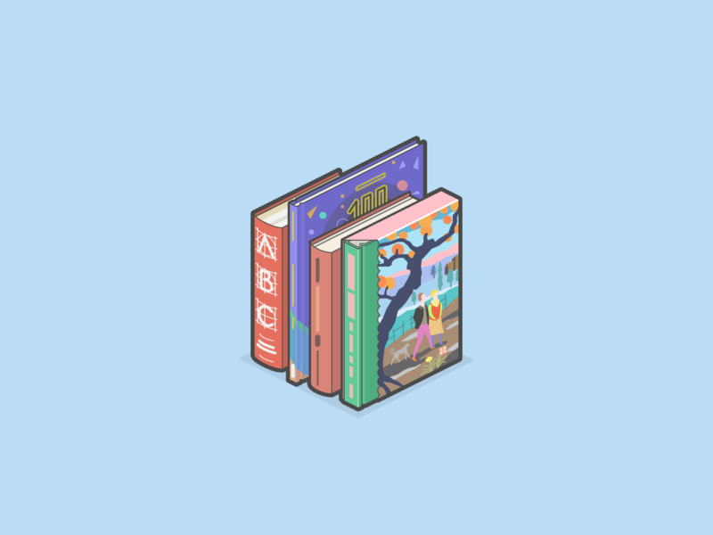 Books minecraft isometric illustration graphic design