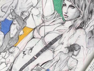 Sketch Page drawing studies pen sketch figures sketching art artwork illustration sketch book water color