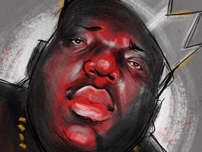 Biggie art creative artwork illustration sketch color music biggie rap notorious big hip hop portrait