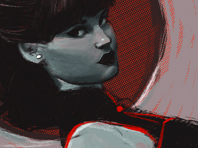 Rivi Small illustration female model portrait art zack atkinson