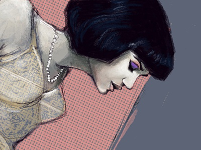 Rivi 2 Small illustration female model painting digital pattern portrait art artwork woman