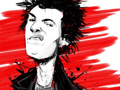 Sid Small illustration art artwork sketch digital sid vicious rock and roll music portrait