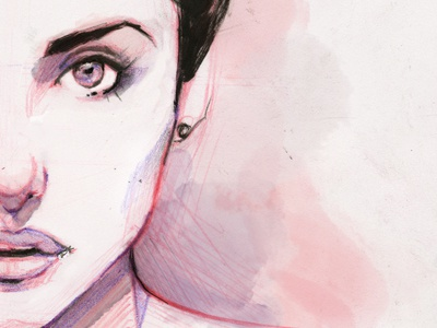 Chloe Small illustration portrait woman color graphic art artwork painting face water color