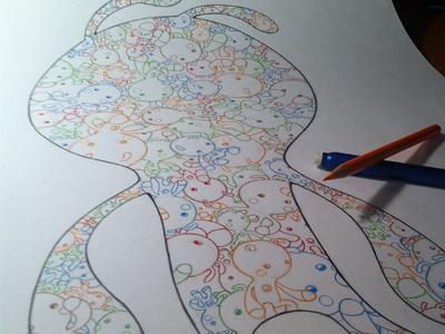 Little Kaiju drawing illustration design color movie poster