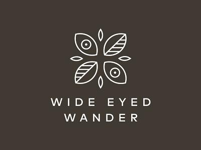 Wide Eyed Wander identity mark leaves eyes lines illustration minimal coffee journal