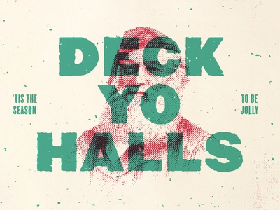 Deck Yo Halls card season jolly winter december halftone xmas holiday claus santa christmas