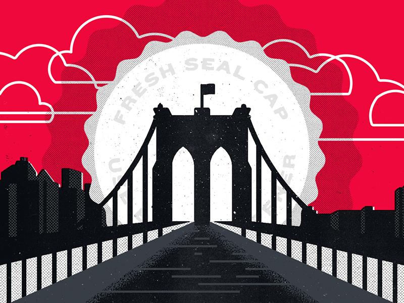 The Skyline's the Limit II sunset illustration editorial good beer hunting bottle beer bridge brooklyn new york