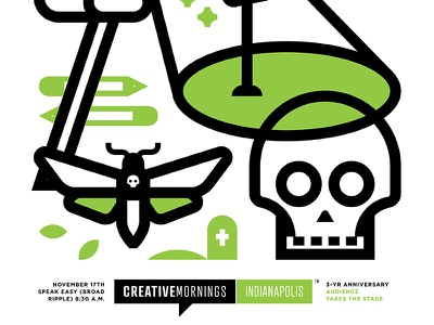 CreativeMornings Indy flag moth death indy indianapolis poster 2 color skull mornings creative creativemornings