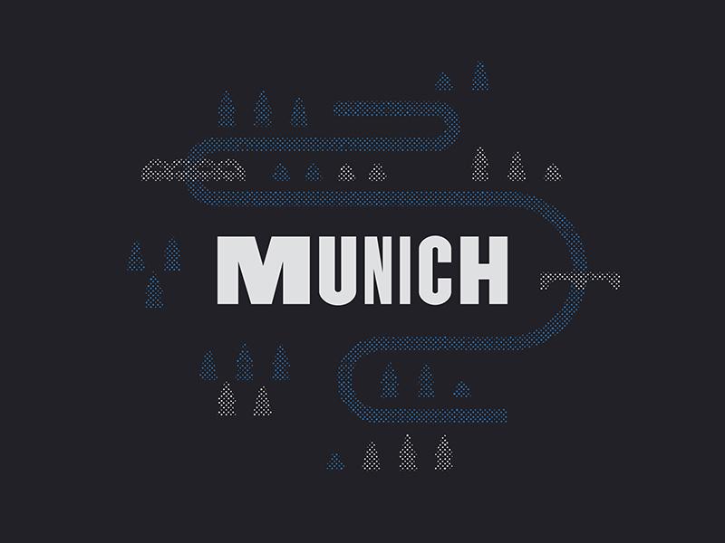 Munich munich germany typography type halftone illustration