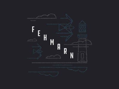 Fehmarn seagull lighthouse fehmarn baltic germany halftone type typography illustration