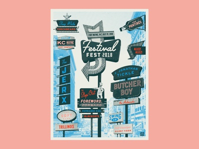 Festival Fest '18 typography type poster show fort wayne fest bands music festival halftone poster