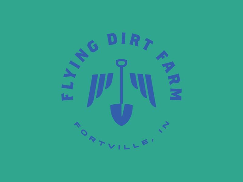 Flying Dirt Farm Primary Logo farmer flowers florist badge ringside brothers type farmers market wings shovel farm indiana branding logo
