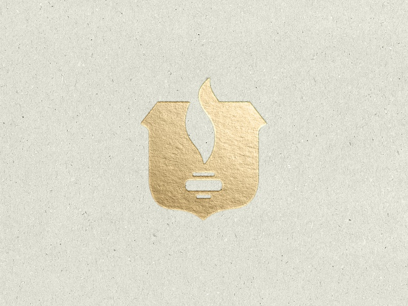 Dead concept, eternal flame excellence education fire mark icon foil gold badge torch flame branding logo