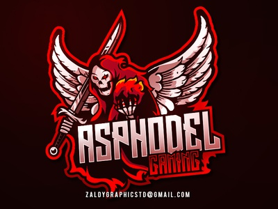 Asphodel Gaming Logo Esports death burn sword grimreaper scream logo mascot sport gaming esports