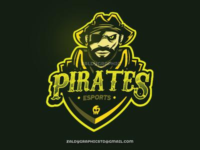 Esports Mascot Pirates Logo e sports skull illustration carabian pirate sports mascotlogo esports logo