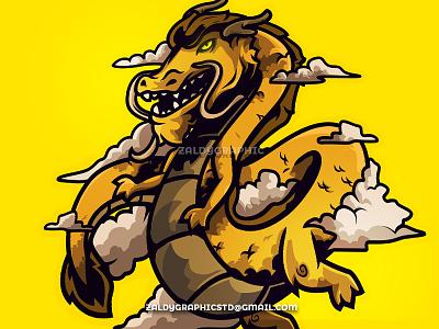 Golden Dragon - Mascot Logo animal illustrator illustration design indonesia graphicdesign esports gold vector logo mascotlogo dragon