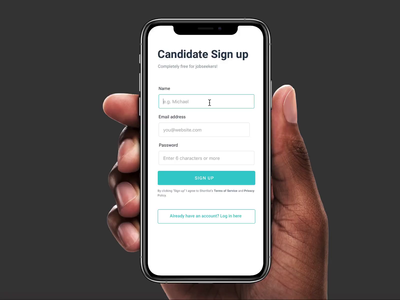 Candidate Sign up
