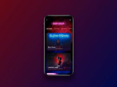 UI concept: event tickets distribution mobile app