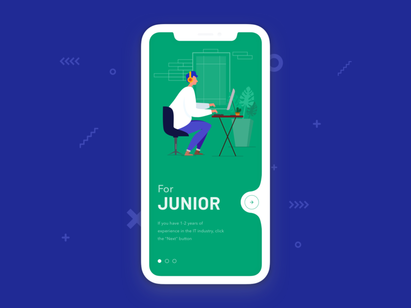 Find work | Onboarding concept middle junior button find work illustration character clean ui clean app flat illustration vector art vector illustration art illustrator ui design ux design uiux ux ui