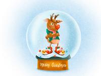 Christmas mood - animated illustration of Rudolph