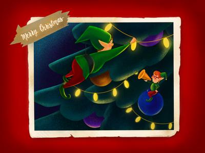 Christmas Elfs illustrator illustration art animation vector illustration christmas tree character winter presents new year midnight holidays christmas
