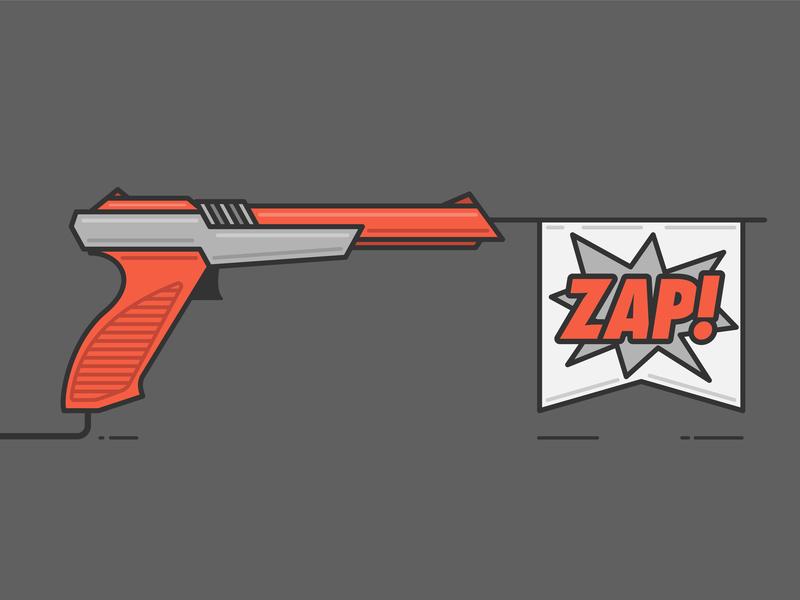 NES Zapper Flag Gun lines type flag nintendo gamer zapper illustration color illustrator design graphic