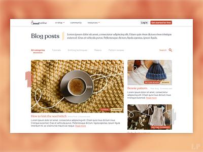 Blog posts page knitting blogs website branding