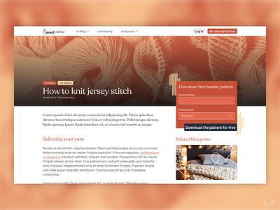 Blog article page blog knitting website branding