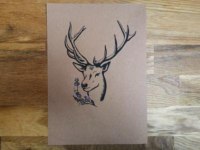 Illustrations - Forest series - Deer drawing posca deer illustration